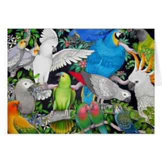 Papegojor av världskortet hälsningskort