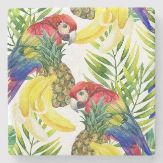 Papegojor och tropisk frukt stenunderlägg