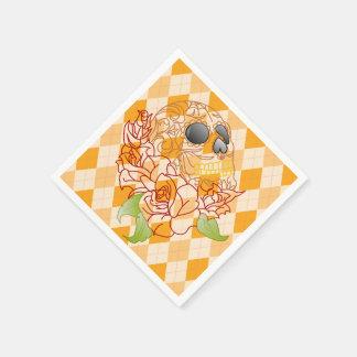 Papernapkins för Retro gul argyle för skalle Papper Servett