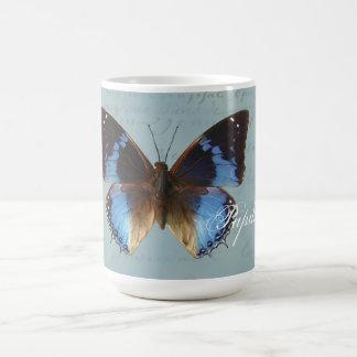 Papillon bleu kaffe muggar