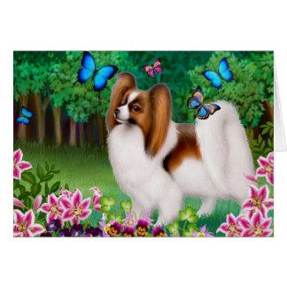 Papillon hund i trädgårds- hälsningkort hälsningskort