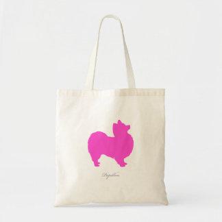 Papillon toto (den rosa silhouetten) tote bags