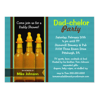 Pappa-chelorparty - pappababy showerinbjudningar 14 x 19,5 cm inbjudningskort