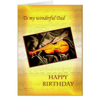 Pappa ett musikaliskt födelsedagkort med en fiol hälsningskort