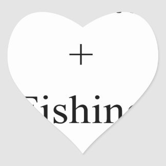 Pappa + Fiska = kärlek Hjärtformat Klistermärke