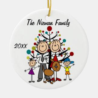 Pappa mamma, pojke, flicka, beställnings- julgransprydnad keramik