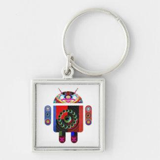 Pappa- och babyAndroid - Art101 vid Navin Fyrkantig Silverfärgad Nyckelring