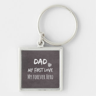 Pappa- och dottercitationstecken: Första kärlek, Fyrkantig Silverfärgad Nyckelring