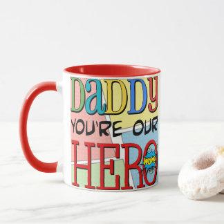 Pappan är du vårt hjältefoto mugg