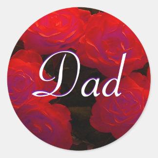Papparöd rosklistermärke runda klistermärken