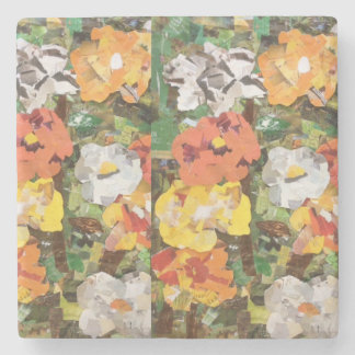 Papper blommar Collage i gult & orange Underlägg Sten