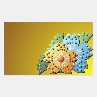 Papper blomsterträdgårdklistermärke för söt 3D Rektangulärt Klistermärke
