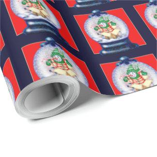 Papper för ENSAM TECKNAD för SNOWGLOBE glansigt Presentpapper