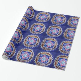 Papper för guld- Mandala för blått glansigt Presentpapper