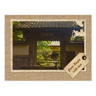 Papper för Kamakura Japan Kencho-ji tempelvintage Vykort