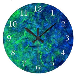 Papper för ris för neonblåttgrönt psychedelic stor klocka