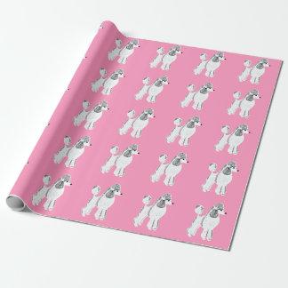 Papper för standarda pudlar för vit rosa slående presentpapper