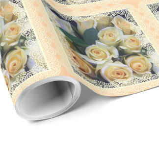 Papper inpackning - krämig robukett presentpapper