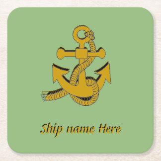 Papper kustfartyg - den guld- frakten ankrar och underlägg papper kvadrat
