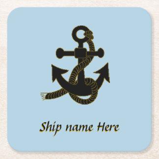 Papper kustfartyg - frakt svart ankrar och namnger underlägg papper kvadrat