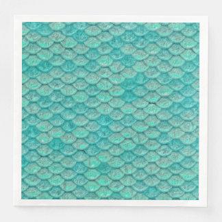 Pappersservett för fjäll för sjöjungfruhavsgrönt