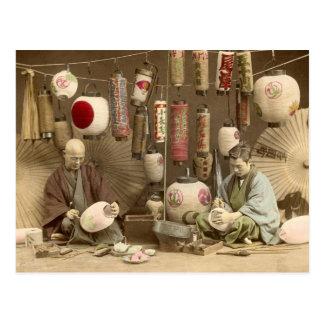 Pappra lyktatillverkare för japan, vintagefoto vykort