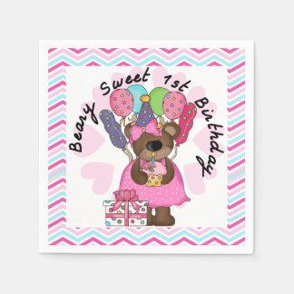 Pappra servetter Beary för söt 1st födelsedag