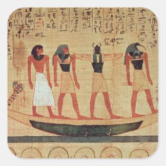 Papyrus som visar en man fyrkantigt klistermärke