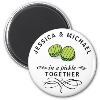 Par i en knipa personifierade tillsammans magnet rund 5.7 cm