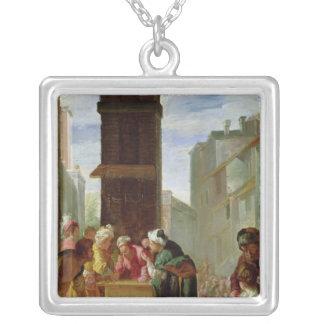 Parabeln av den dyrbara pärlan silverpläterat halsband
