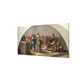 Parabeln av gästerna på bröllop canvastryck