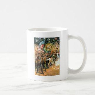 Parad för smällare för US-flaggafyrverkerier Kaffemugg