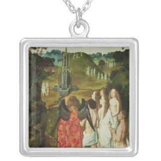 Paradis av den symboliska fontänen silverpläterat halsband