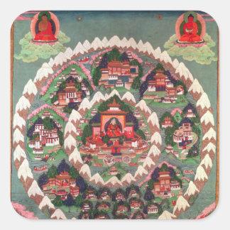Paradiset av Shambhala, tibetant baner Fyrkantigt Klistermärke