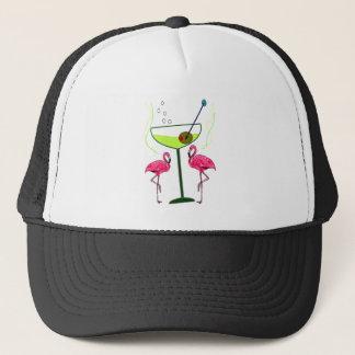 """Paradisuppvaknande"",--Rosa flamingo & Martini Truckerkeps"