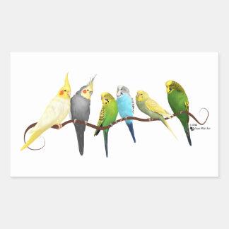 Parakiter & Cockatiels! Rektangulärt Klistermärke