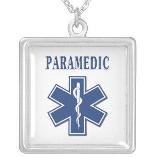 Paramedicinsk blåttstjärna av liv silverpläterat halsband