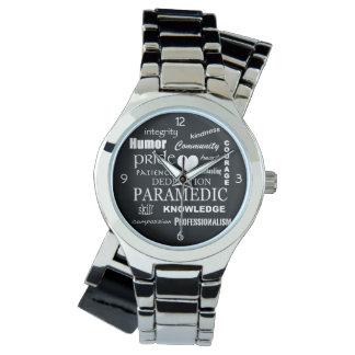 Paramedicinsk Pride-Vit hjärta/textdesign Armbandsur