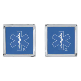 Paramedicinsk symbolanpassningsbar för EMT Silverpläterade Manschetterknappar