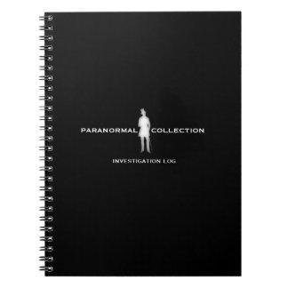 Paranormal utredning loggar anteckningsboken anteckningsbok med spiral