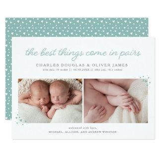 Parar tvilling- pojkefödelsemeddelande med 12,7 x 17,8 cm inbjudningskort