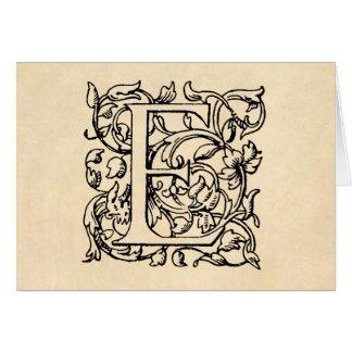 Parchment för gult för Monogram för vintagebrev E OBS Kort