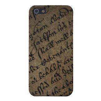 Parchmenttext med antik handstil, gammalt papper iPhone 5 skydd