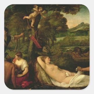 Pardo Venus eller Jupiter och Antiope Fyrkantigt Klistermärke