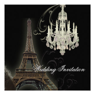 Paris Chandelier Effiel Tower Wedding Invitation