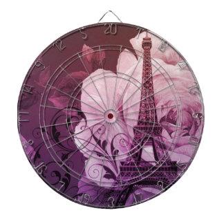 Paris Eiffel för Boho chic purpurfärgat blommigt Piltavla