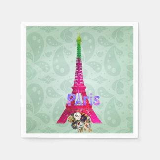 Paris Eiffel för fransk för HipsterPaisley neon Papper Servetter