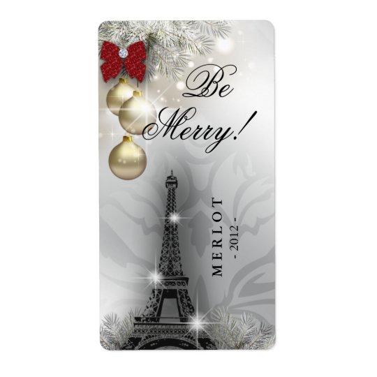 Paris Eiffel för julvinetikett torn Fraktsedel