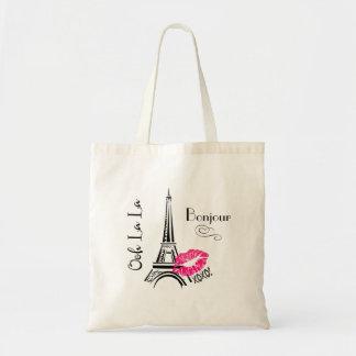 Paris Eiffel för Ooh LaLa torn Bonjour Tygkasse