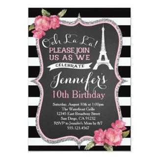 Paris Eiffel tornfödelsedagsfest inbjudan
